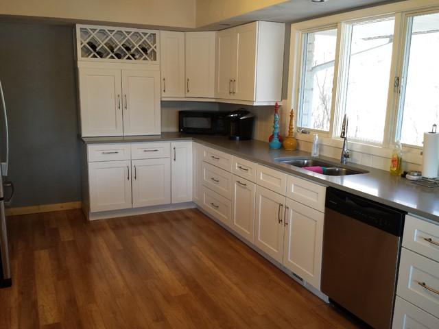 White Shaker Cabinets and Concerto Quartz Countertops - Contemporary - Kitchen - cedar rapids ...
