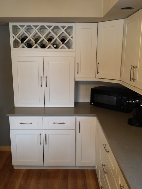 White Shaker Cabinets and Concerto Quartz Countertops - Contemporary - Kitchen - Cedar Rapids ...