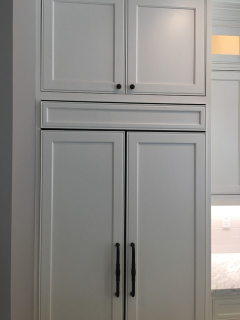 ... Face-frame Refrigerator panels with upper cabinets modern-kitchen
