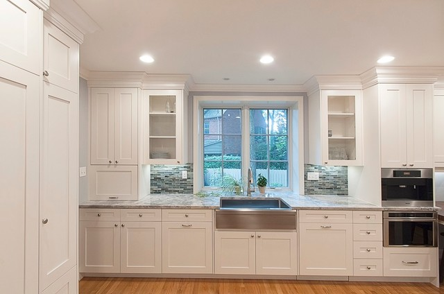 White Shaker Full Overlay Inset Kitchen Remodel