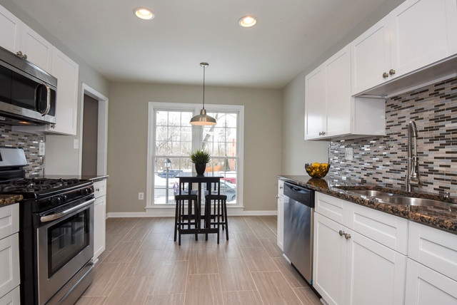 WhIte Shaker Kitchen Cabinets- Galley Style Kitchen ...
