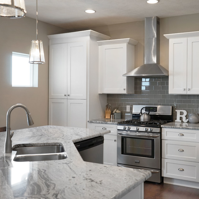 White Shaker Kitchen Cabinets With Soft Close Doors Drawers Contemporary Kitchen Omaha