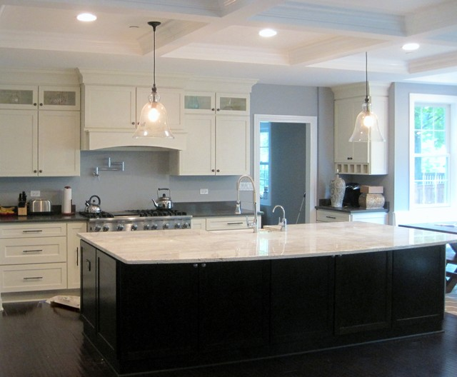 White Kitchen Dark Island white shaker kitchen, large dark island - modern - kitchen