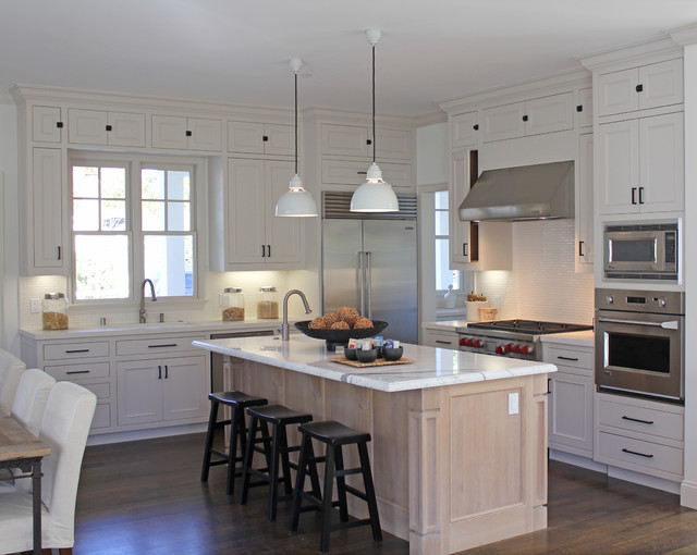 Houzz White Kitchen Gray Island