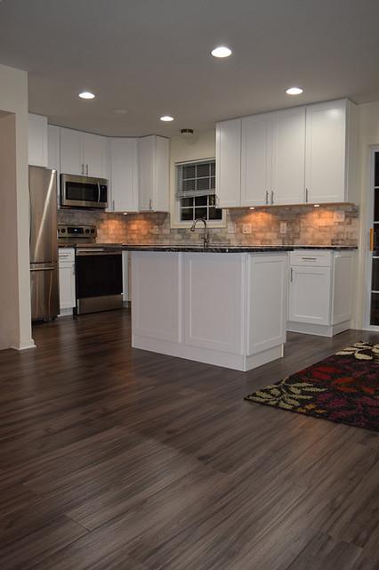 White Shaker Kitchen With New Dark Grey, Dark Gray Laminate Flooring