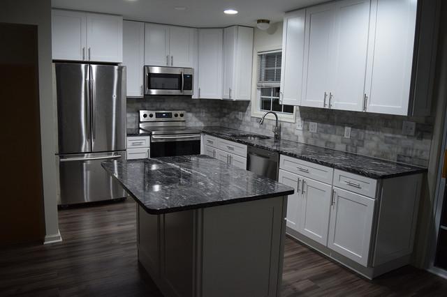 White Shaker Kitchen With New Dark Grey, Dark Grey Laminate Flooring For Bathrooms