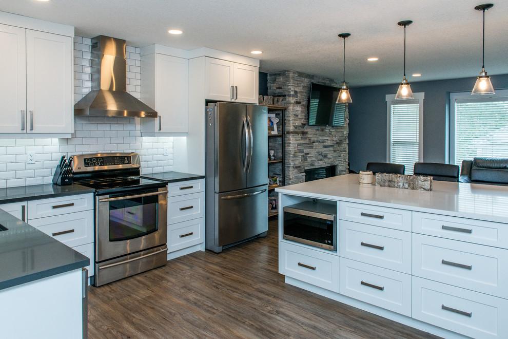 White Shaker Kitchen With Quartz Countertops ...