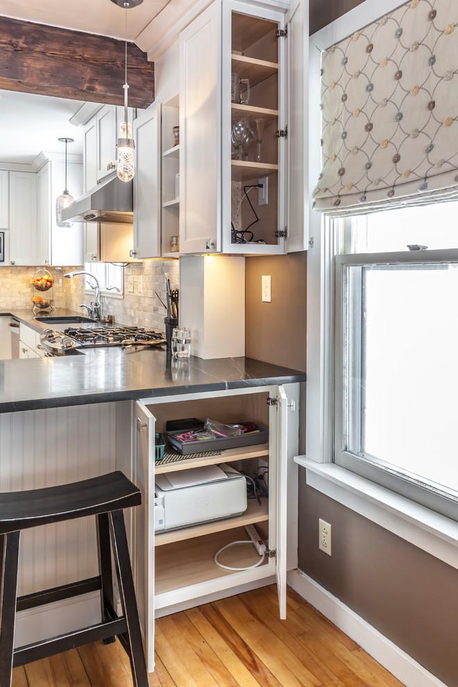 White Shaker Kitchen with soapstone countertops ...