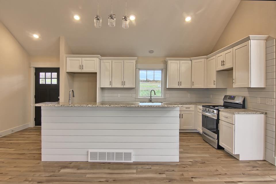 White ship lap kitchen
