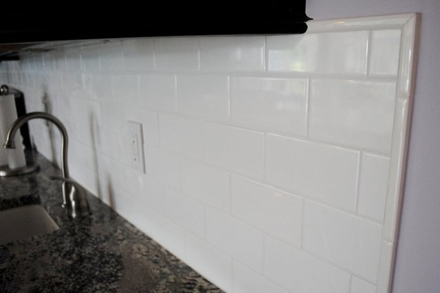 White Subway Tile Traditional Kitchen Other Metro