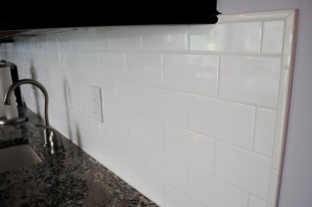 Delightful White Subway Tile Traditional Kitchen