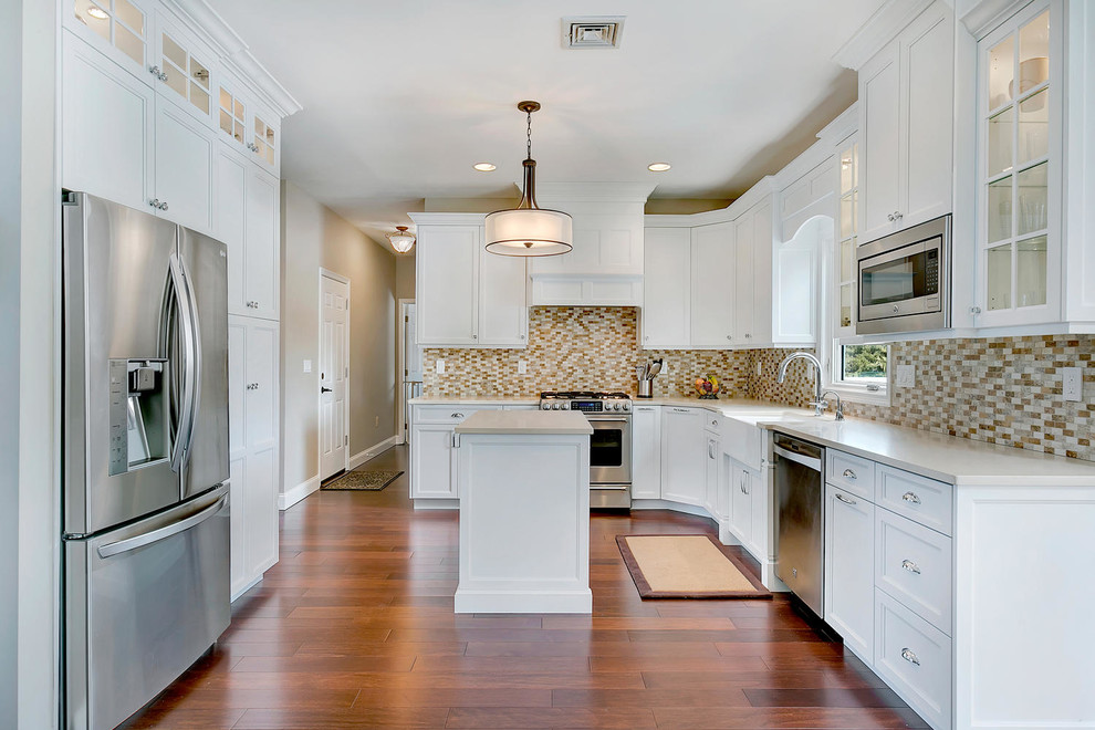 White Transitional Kitchen Staggered Height Cabinets Transitional Kitchen New York By Design Line Kitchens