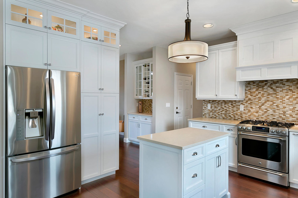 White Transitional Kitchen Staggered Height Cabinets ...