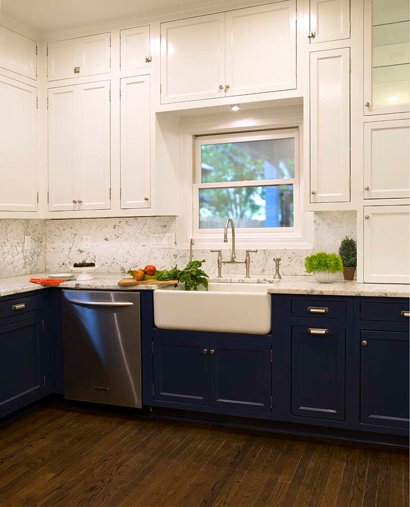 White Upper and Dark Blue Lower Cabinets in a Fantastic ...
