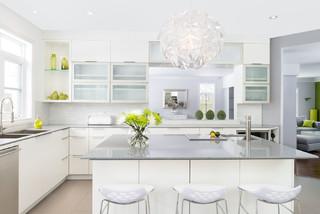 White Velvet Laquer Amp Quartz Counter Top Contemporary