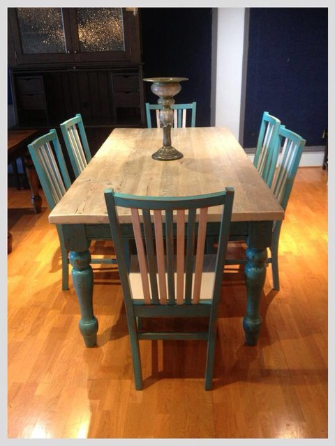 White Washed Amp Teal Farmhouse Table