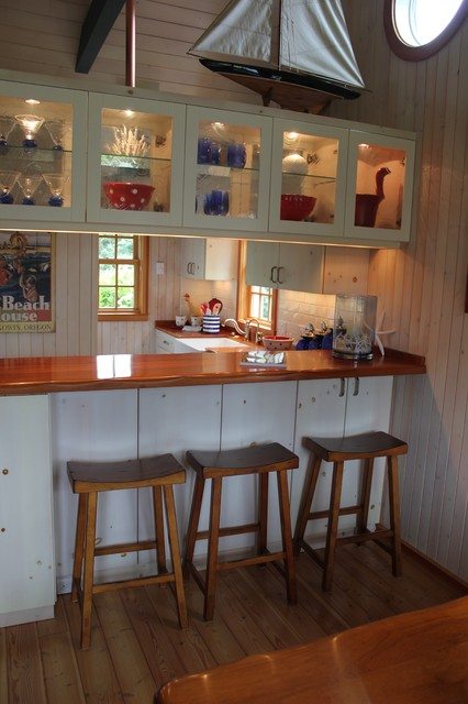 white washed knotty pine w/ teak countertops - Other - by NW Cabinet & Refacing Inc