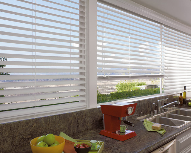 White wood blinds contemporary kitchen new york by ny city blinds - Designer kitchen blinds ...