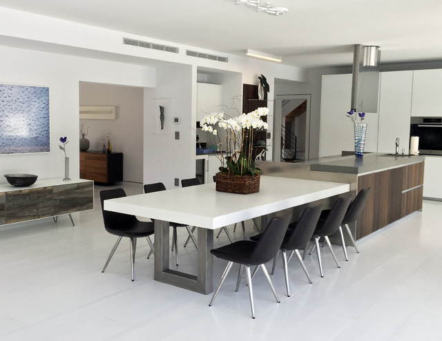 white zen concrete dining table contemporary kitchen new york by trueform concrete. Black Bedroom Furniture Sets. Home Design Ideas