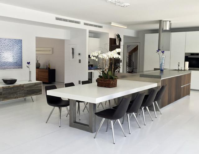 White Zen Concrete Dining Table - Contemporary - Kitchen ...
