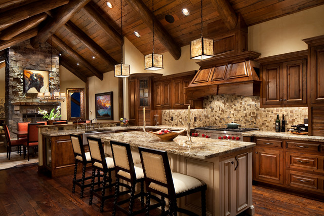 Whitefish estate rustic kitchen other metro by for Rustic lake house kitchens
