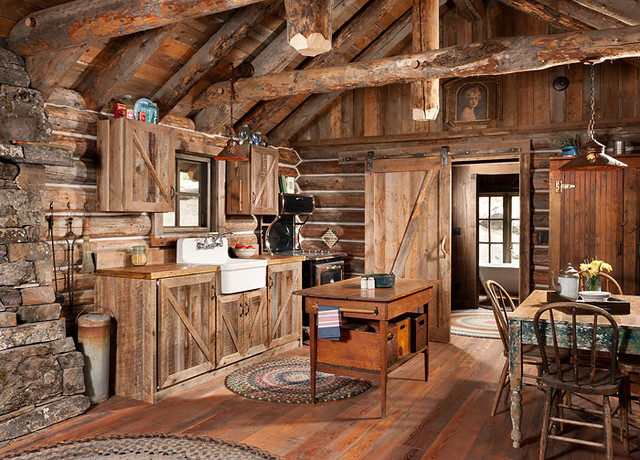 Whitefish montana private historic cabin remodel rustic for Rustic kitchen designs