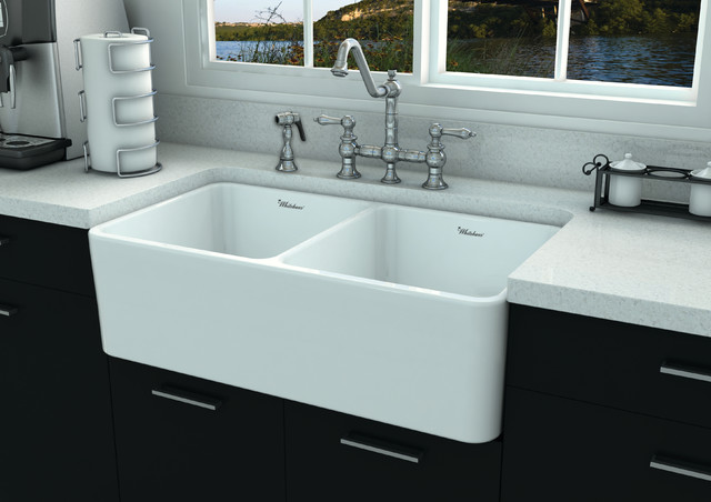Fire Clay Sinks : Whitehaus WHFLPLN3318 Fireclay Sink - Contemporary - Kitchen Sinks ...