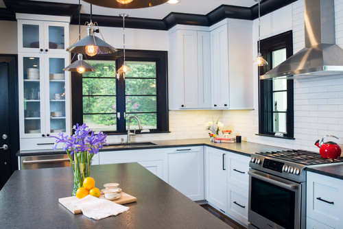 black and white themed kitchen in lake claire