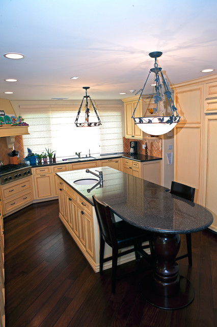 Whole house remodel and second floor addition in Encino mediterranean-kitchen