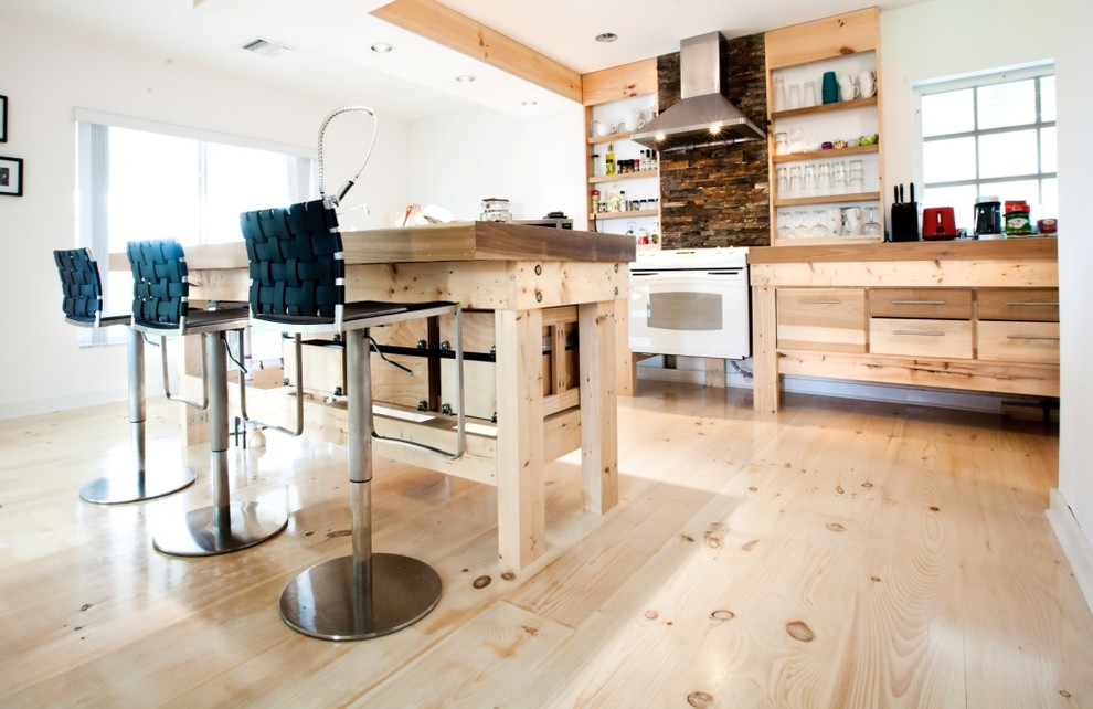 Inspiration for a small contemporary l-shaped light wood floor open concept kitchen remodel in Miami with an undermount sink, open cabinets, light wood cabinets, concrete countertops, metallic backsplash, stainless steel appliances and an island