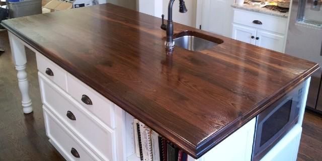 Wide Plank Walnut Island Countertop Kitchen Charlotte