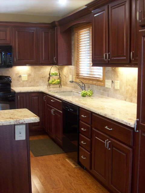 Wild cherry traditional kitchen chicago by west for Cherry kitchen cabinets
