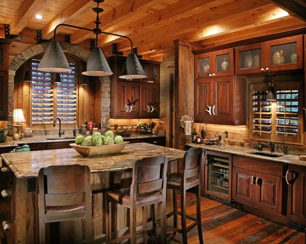 Lodge Traditional Kitchen Atlanta By Modern Rustic Homes