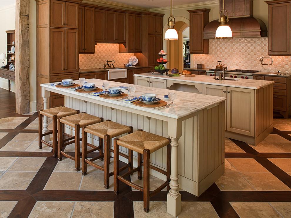 Kitchen - traditional kitchen idea in Atlanta with a farmhouse sink, dark wood cabinets and ceramic backsplash