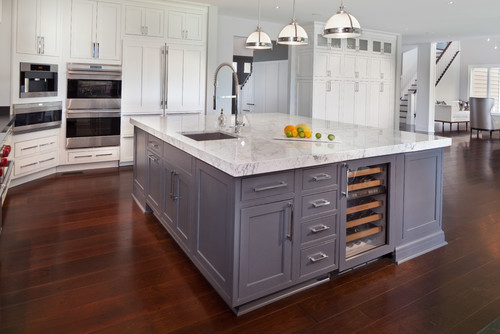 Punch Up A White Kitchen With A Contrasting Island Abode