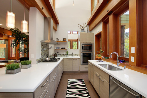 What Type Of Material Is Used In The Kitchen Cabinetry? I Like The Contrast  With Wood Trim.