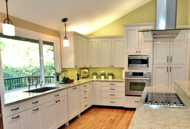 Window to the countertop to bring in the view traditional-kitchen