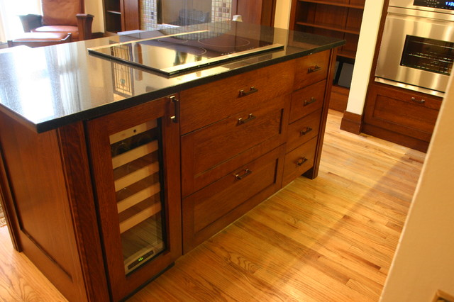 wine cooler induction cooktop and custom island traditional kitchen