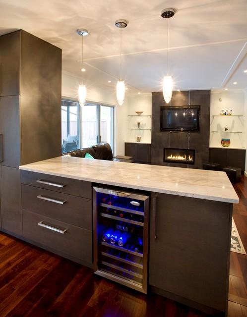 Wine Fridge Contemporary Kitchen