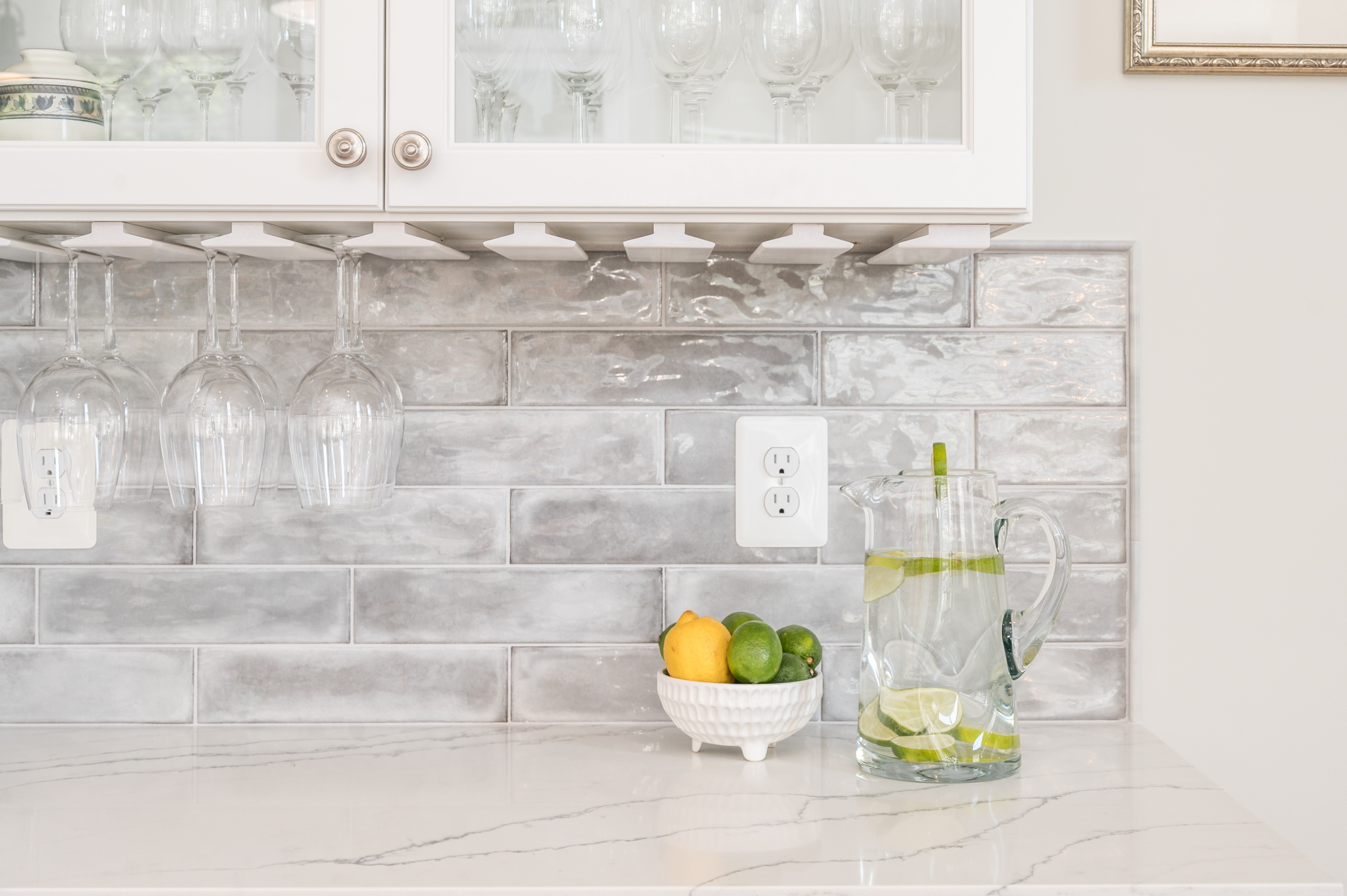 Wine glass holder and glass front bar ware storage