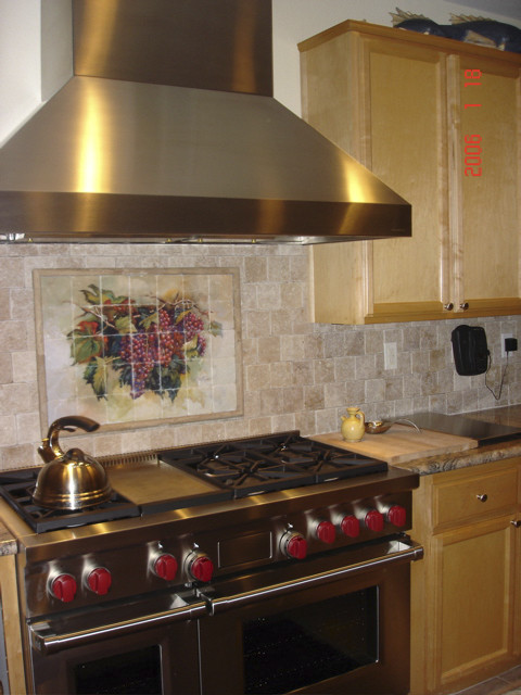 Wine Grape Tumbled Marble Kitchen Backsplash Traditional
