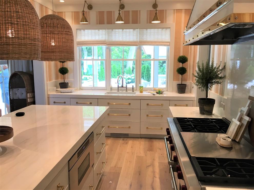 Wire Brushed Rift White Oak Cabinets - Beach Style ...