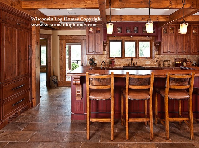 Wisconsin log homes inc for Log home kitchens gallery