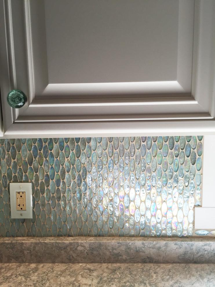 Oval Aqua Blue Iridescent Gl Tile