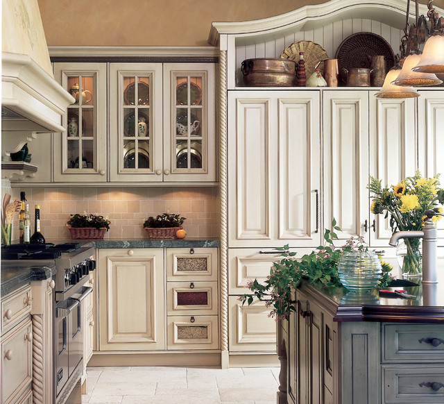 Country Cabinets For Kitchen: Wm Ohs Cabinets With White Refrigerator Hutch