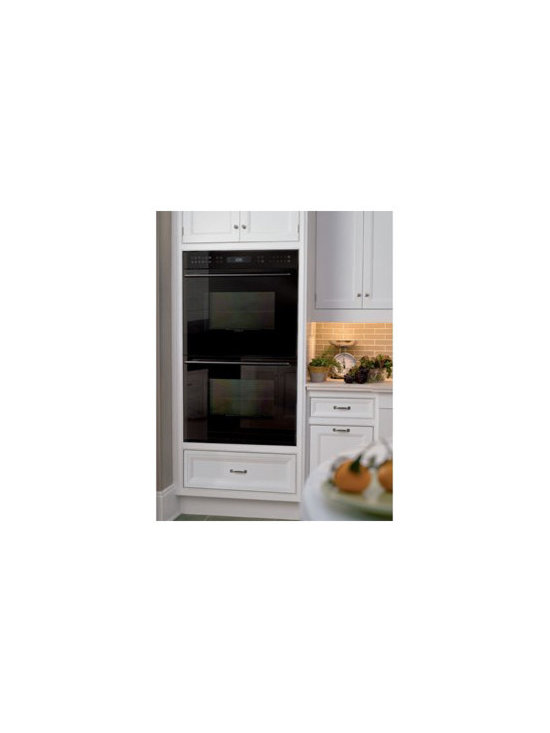 "Wolf 30"" Double Electric Wall Oven, Black Glass Unframed  