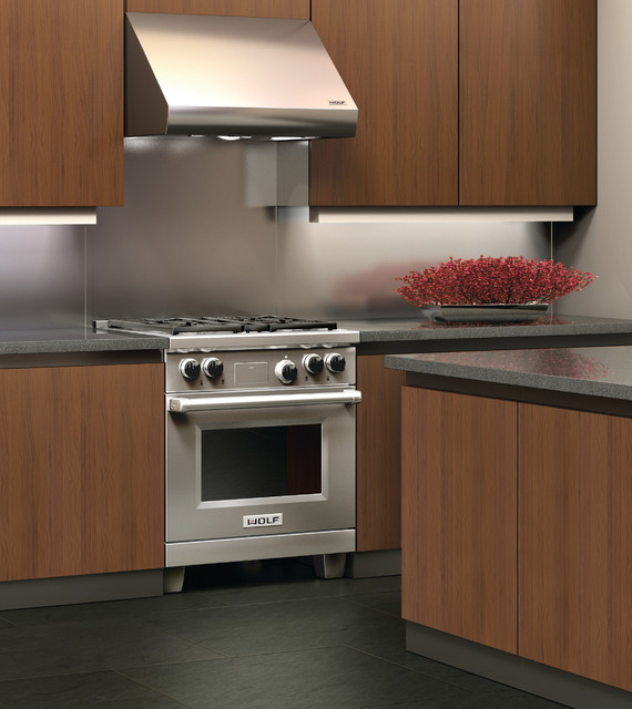 Wolf 30  Wall Mount Canopy Range Hood Stainless Steel | PW302718 contemporary-kitchen & Wolf 30