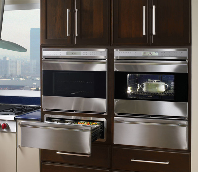 "Side By Side Oven And Microwave: Wolf E Series 30"" Single Electric Wall Oven, Stainless"