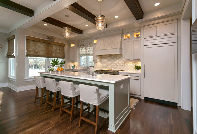 Wood beams ceiling and soffit traditional kitchen for Decorative beams in kitchen