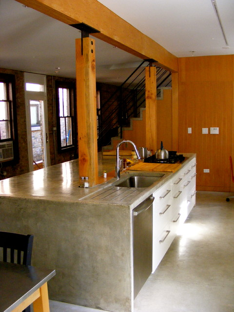 Wood Concrete Kitchen Island Stair Door 13 Architects